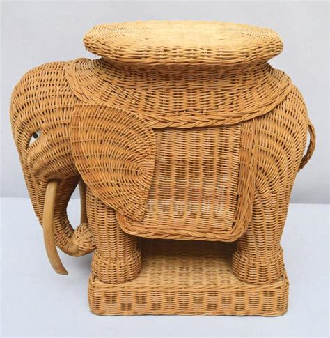 Elephant Side Table Vintage Italian Wicker Elephant Side Table Or Stool At 1stdibs