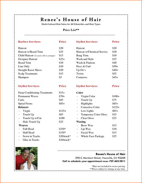 salon price list template appointment reminder cards template free