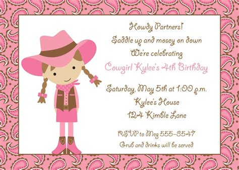 cowgirl party invitations party ideas pinterest