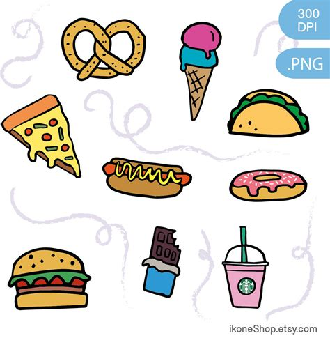 food clipart junk food clipart fast food and digital stickers