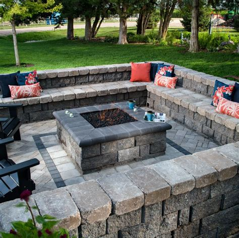 square fire pits are the new round fire pit we love the surrounding seat wall so many can enjoy