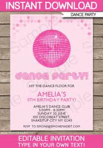 dance party invitations template birthday party