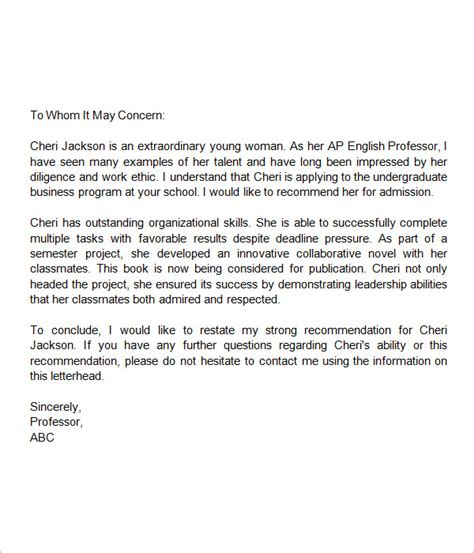 College Student Letter Of Reference 7 Letters Of Recommendation For Student Sle Templates