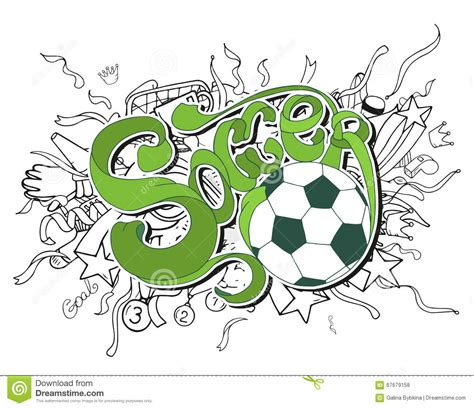 doodle soccer doodle white soccer composition with sport objects and