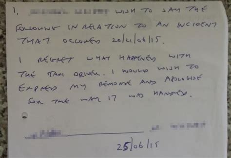 Apology Letter To For Insulting attacked howdon taxi driver receives insulting apology