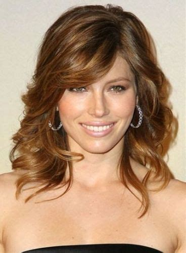medium length brown hair with bangs and blonde highlights 12 jessica biel hairstyles with bangs long medium bob
