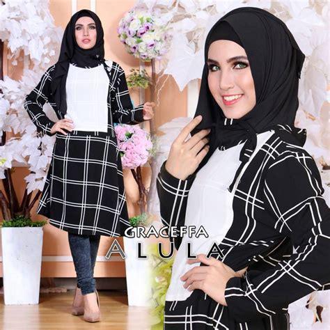 Gamis Alula 3 graceffa white black baju muslim gamis modern