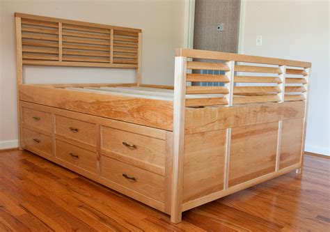 Tall Bed Frame Full Queen Bed With Drawers Underneath Decofurnish