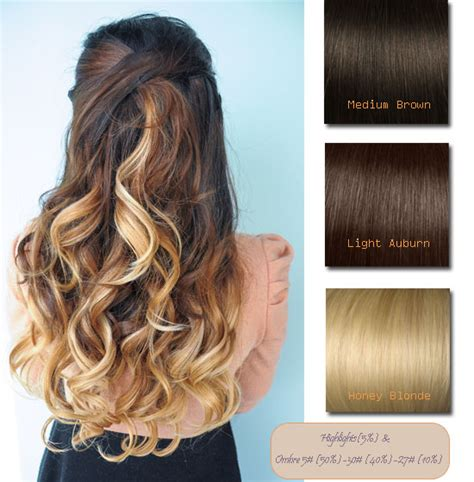 honey brown hair with blonde ombre brown blonde ombre indian remy clip in hair extensions