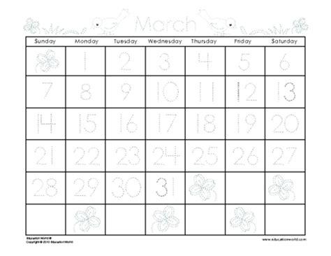 march 2010 traceable calendar template education world