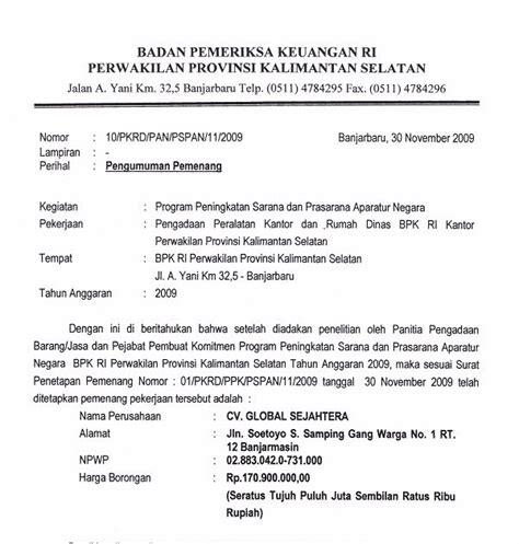 contoh surat dinas resmi sekolah yang benar