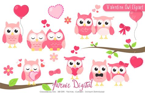 valentines owl s day owl clipart vectors by aveniedigital