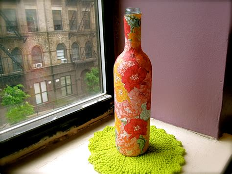 Decoupage Wine Bottles - decoupage wine bottle vase