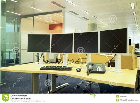 Office Desk That Hides Wires New Workstation With Screens Keyboard Phone In A Stylish