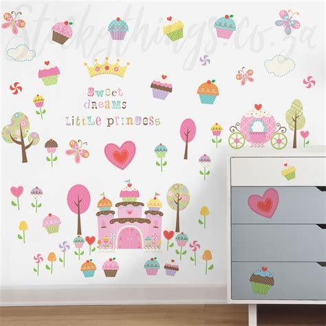 princess wall stickers princess cupcake wall stickers stickythings wall