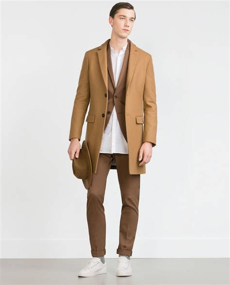 camel color coat zara camel coat in brown for lyst