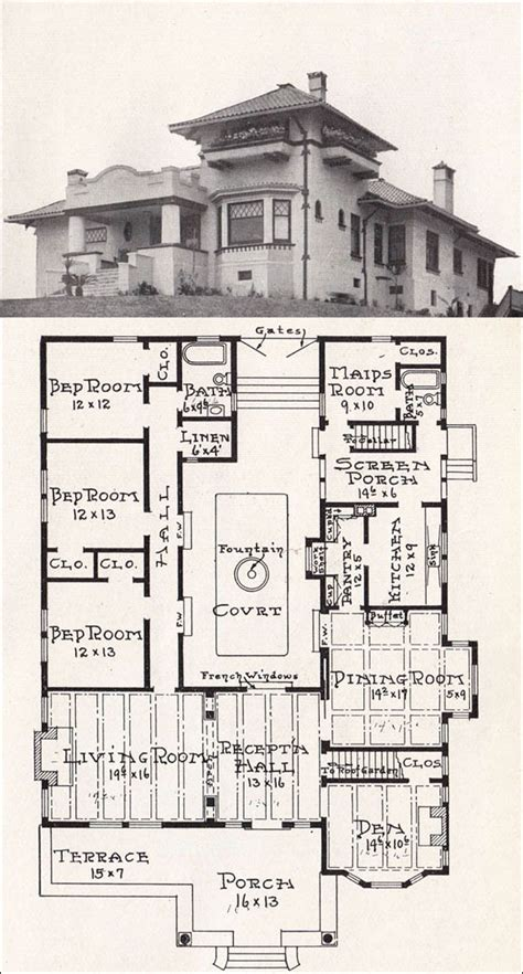 Mission Style House Plans | california mission style house 1918 house plan by e w