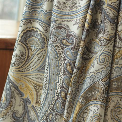 Vbm091 Blue Gold White Grey blue paisley curtains promotion shop for promotional blue