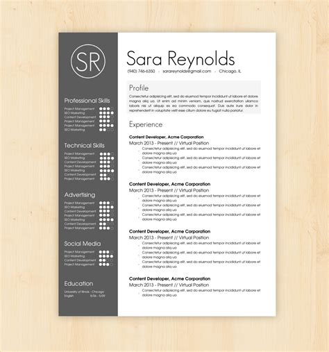 design cv format word resume template cv template the sara reynolds by phdpress