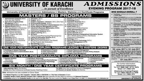 Karachi Mba Admission 2017 Evening by Of Karachi Uok Admission 2017 In Bachelor And