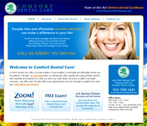 comfort dental denton website design plano frisco web site design dallas