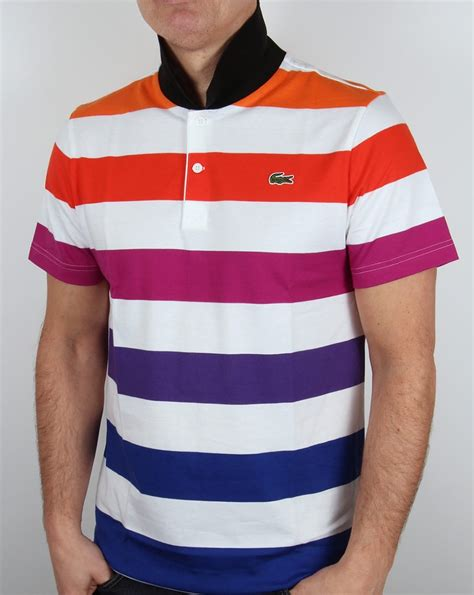 Stripe Polo by Lacoste Multi Stripe Polo Shirt White Cantaloupe Cotton