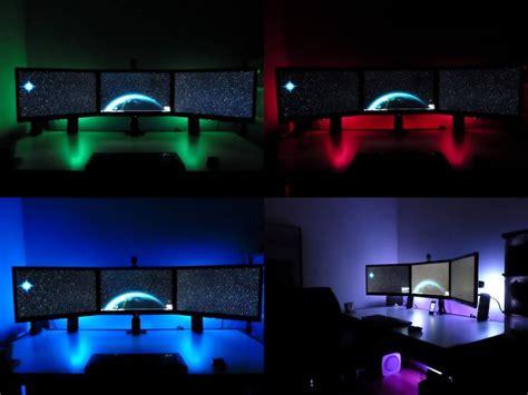 gaming desk led lights multiple accent lights on a clean desk desk setup ideas