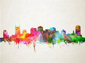Duvet Cover Next Nashville Skyline Watercolor 9 Painting By Bekim Art