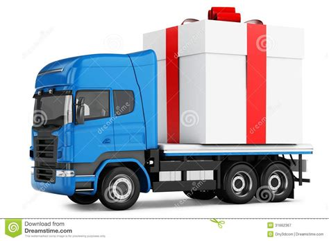 gift delivery 3d truck gift box delivery royalty free stock photography