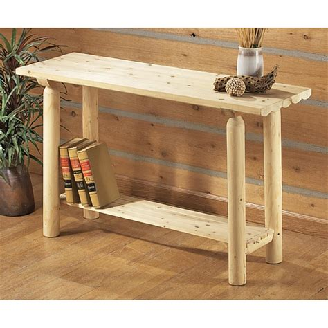 castlecreek gun concealment end table cedar log end table 80376 living room at sportsman s guide