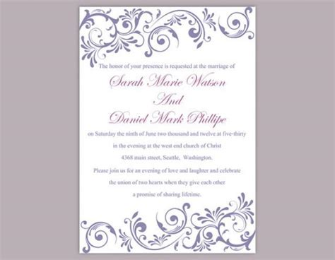 text templates for wedding invitations diy wedding invitation template editable text word file