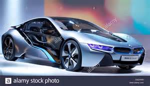 the bmw i8 a in hybrid sports car sits on the stage