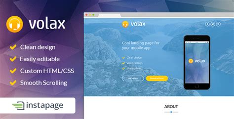 themeforest instapage volax instapage mobile app landing page by pixilito