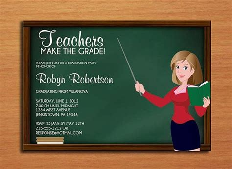 education theme party teacher education degree graduation party invitation