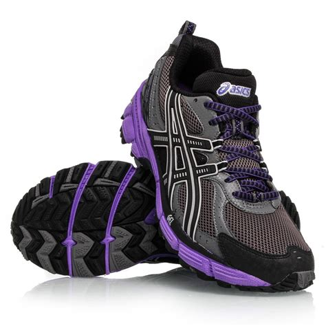 Sepatu Asics Gel Kahana 6 asics gel kahana 6 womens trail running shoes grey black purple sportitude