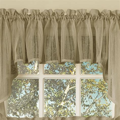 Sheer Tier Curtains Harmony Mocha Micro Stripe Semi Sheer Kitchen Curtains Tier Or Valance Or Swag Curtains