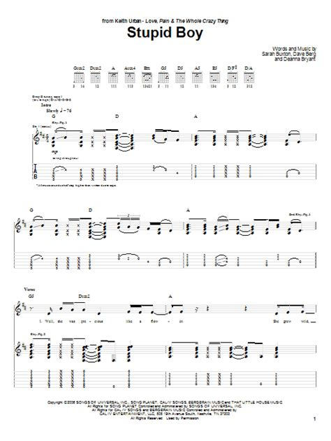 Keith Urban Songs Guitar Chords | stupid boy by keith urban guitar tab guitar instructor
