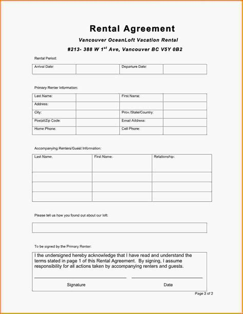 Rent A Car Letterhead Printable Lease Contract Forms