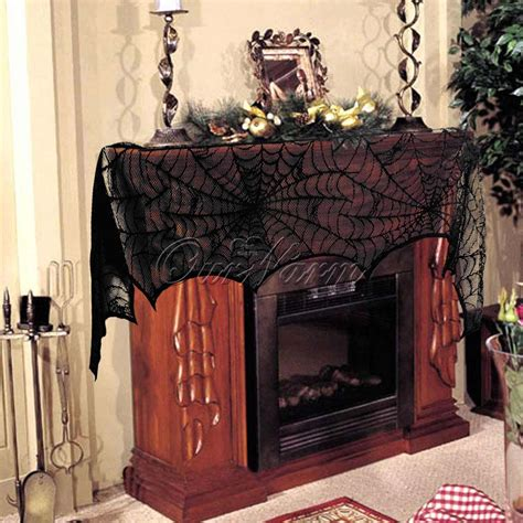 fireplace mantle scarf new black lace belfry bat spooky creepy