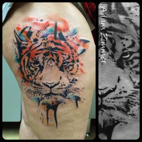 watercolor tiger tattoo 107 best tattoos by adam zimmer images on