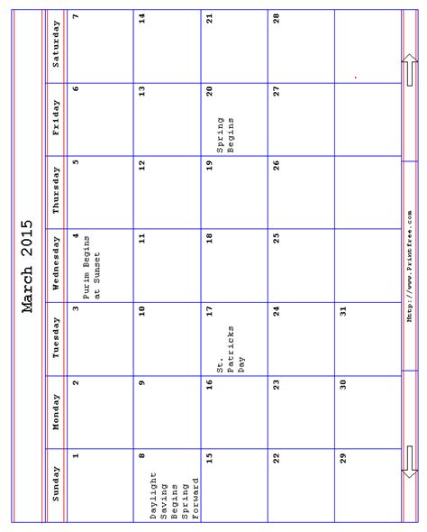 printable daily calendar march 2016 2015 calendar printable with holidays page 2 new