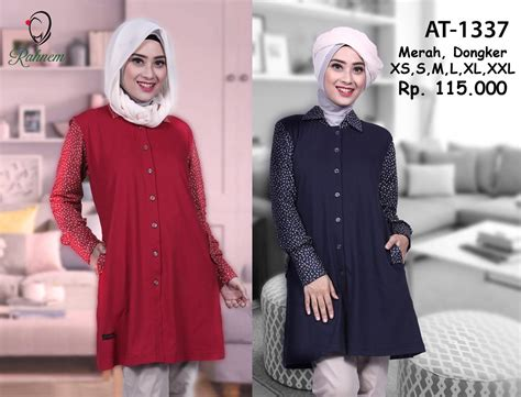 Baju Atasan Wanita At13165 jual tunic kerja simple modis blus muslim baju atasan wanita rahnem at 1337 situsbelanjaku