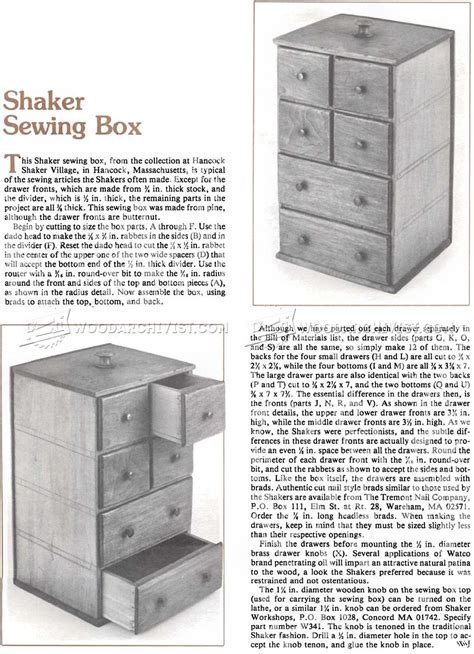 shaker sewing box plans woodarchivist