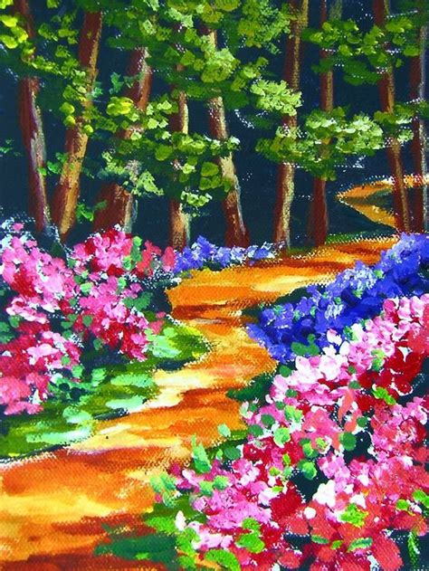 intermediate acrylic painting ideas azalea trail paint colorful flowering bushes and