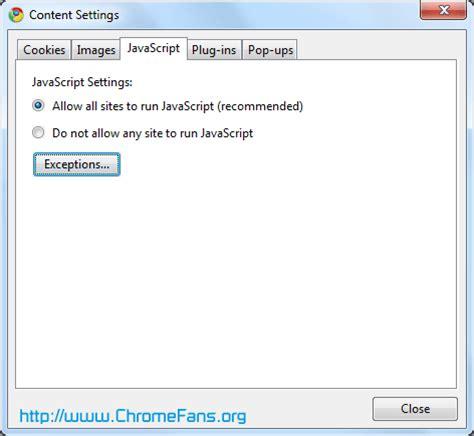 chrome javascript how to disable javascript nojavascript noscript in