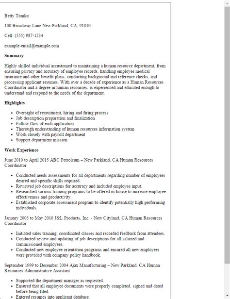 Resume Sles Human Resources Coordinator Professional Human Resources Coordinator Templates To
