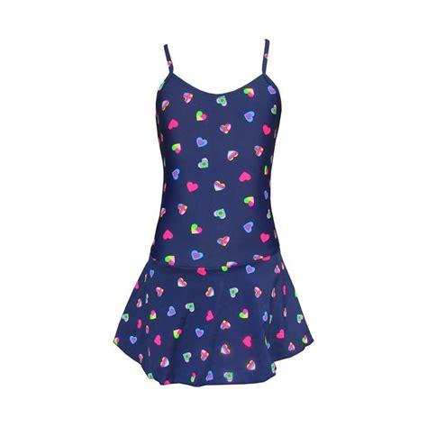 Baju Renang Untuk Anak Perempuan Model Rok Ada Celana Bagian Dalam jual rainy collections motif hati rok baju renang anak biru dongker 2 5 tahun