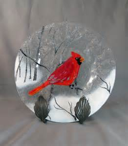 Glass Bird Vase Items Similar To Vintage Fused Glass Plate With Cardinal