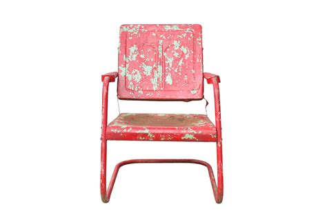 Vintage Red Metal Patio Chair   Omero Home