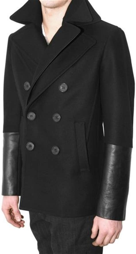 black leather pea coat mens neil barrett leather and wool pea coat in black for lyst